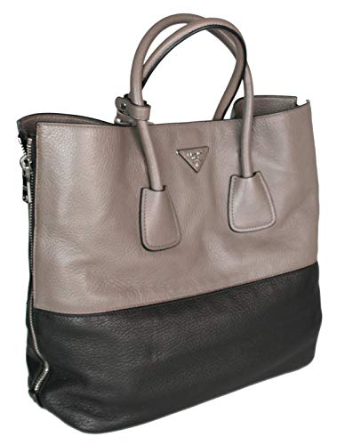 - Prada Women's B2621T 013 F0H3L Grey Leather Shoulder Bag