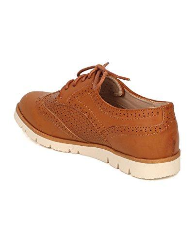 Mocassino Donna Da Donna Spettatore Mocassino Piatto - Sneaker Oxford - Mocassino Con Suola Lug - Gi09 Di Tan Mix Scuro