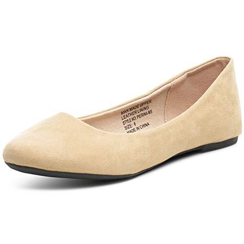 - alpine swiss Womens Beige Micro-Suede Pierina Ballet Flats 6 M US