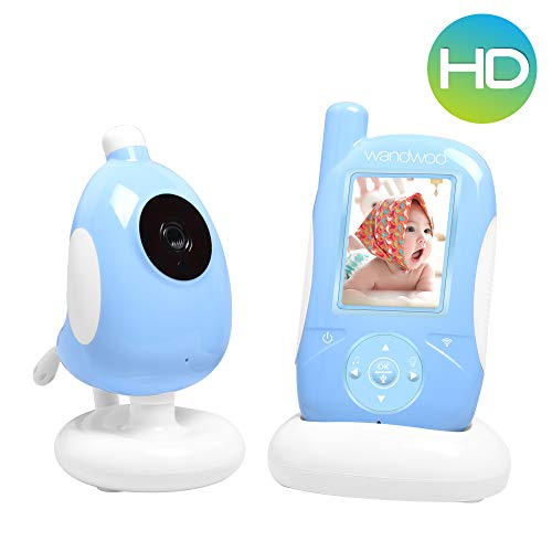 wandwoo Wireless Video Baby Monitor with Digital Indoor Camera, Support Night Vision,VOX Mode,Temperature Monitoring & 2 Way Audio,Pale Blue
