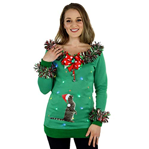 Cat Ugly Christmas Sweater for Women, LED Light Up Cat Holiday Sweater, Ladies XS - 2XL and 3XL Plus size Ugly Sweater