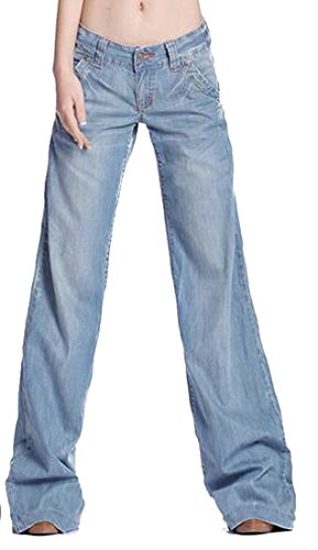 Fulok Womens Vintage Plus Size Faded Low Waist Washed Denim Pants Jeans Light Blue (Faded Flare Jeans)