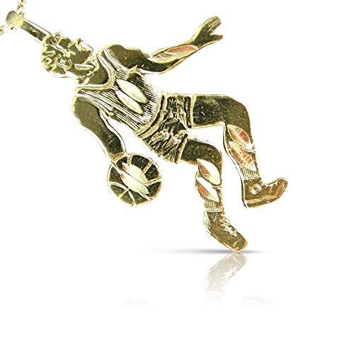 (Milano Jewelers 14KT Yellow Gold 3D Handcrafted Basketball Player Charm Pendant #25315)