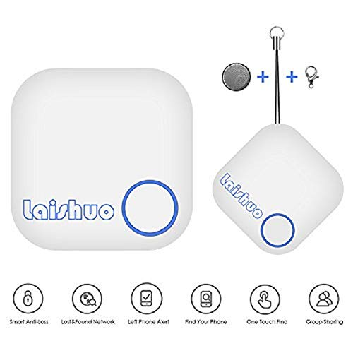 Bluetooth Tracker, Bluetooth Keys Tracker, Bari Key Finder Tracking Wallet Key Bag Pet Dog Tracer Locator Alarm Patch GPS Locator for iOS/iPhone/iPod/iPad/Android(White) ()