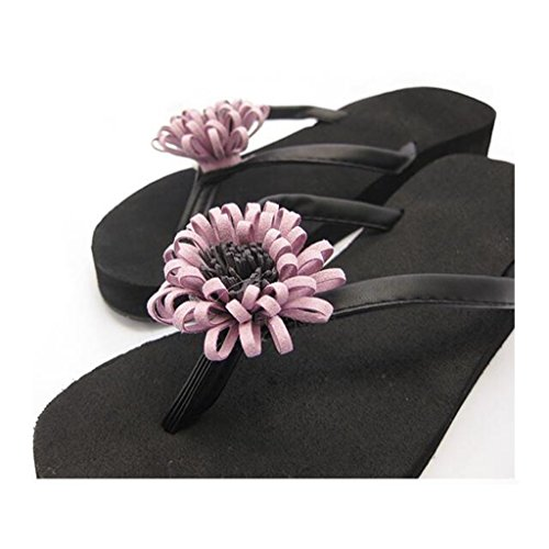 viola On con Wedge Summer Scarpe EVA per Mid 2cm Casual fiori Platform Flat Holiday in Sandal Slip donna Beach ragazza donna Heel Stylish Toe Clip Slipper nere Flat 5g4Iwq