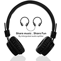 Wired Kids Headphones with Microphone and Music Sharing, Foldable Lightweight Adjustable Stereo Headset for Cellphones Smartphones iPhone iPod Laptop Computer and More by Termichy (Black)
