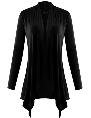 (BILY Women's Long Sleeve Draped Open Cardigan with Pockets Black Small)