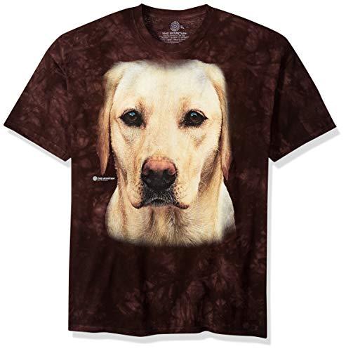 (The Mountain Yellow Lab Portrait Adult T-Shirt, Black,)