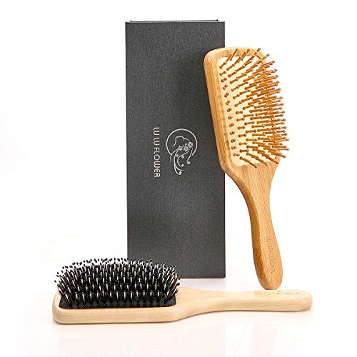 - Hair Brush Set, a Perfect Combination, the Boar Bristle Hairbrush to Make the Hair Smooth and Elegant, the Natural Bamboo Hairbrush to Massage the Scalp, Large Paddle to Easy straightening, Giftbox