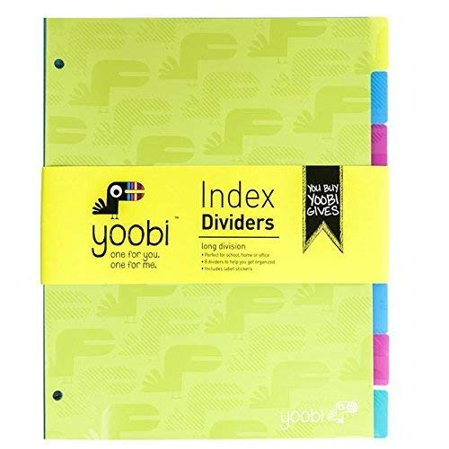 Yoobi Poly Tab Dividers Pack of 8 by Yoobi x Usher - Multicolor and Pen Highlighter Combo