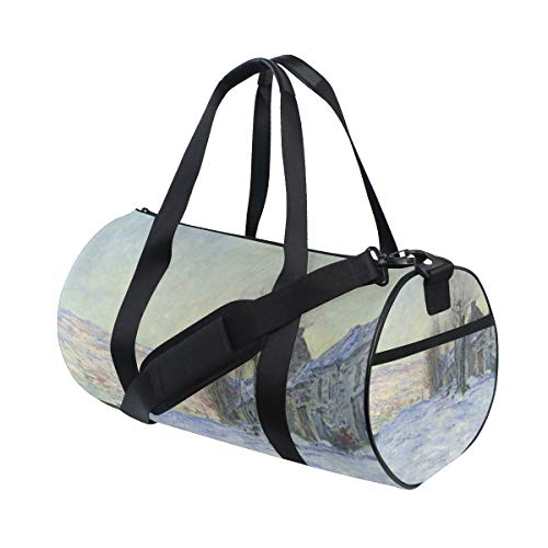 (Gym Duffel Bag Claude Monet's Lavacourt Under Snow Sports Lightweight Canvas Travel Luggage Bag)