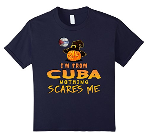 Cuba Costume (Kids I'm From Cuba Nothing Scares Me Tee 12 Navy)