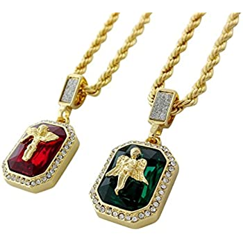 Double chain gemstone charm necklace with ruby emerald angel double chain gemstone charm necklace with ruby emerald angel pendants aloadofball Gallery