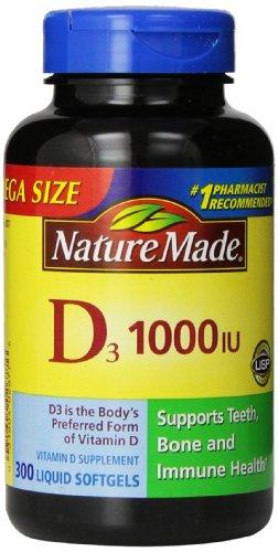 Nature Made vitamine D3 1000 UI, Mega Taille, 300-Count liquides gélules