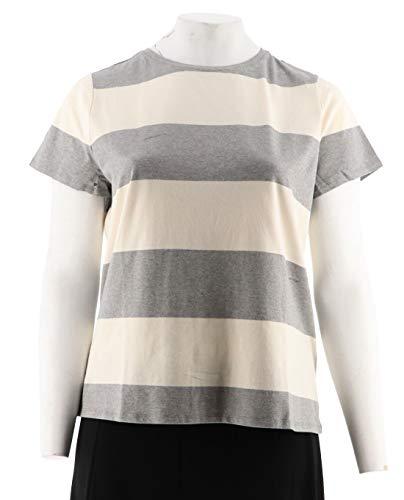 Soho Rugby - Isaac Mizrahi Rugby Striped Knit T-shirt Hthr Soho Crewneck Grey XL NEW A278275