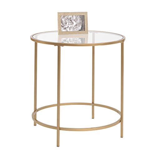 (Sauder 417829 Int Lux Side Table Round, Glass/Satin Gold)