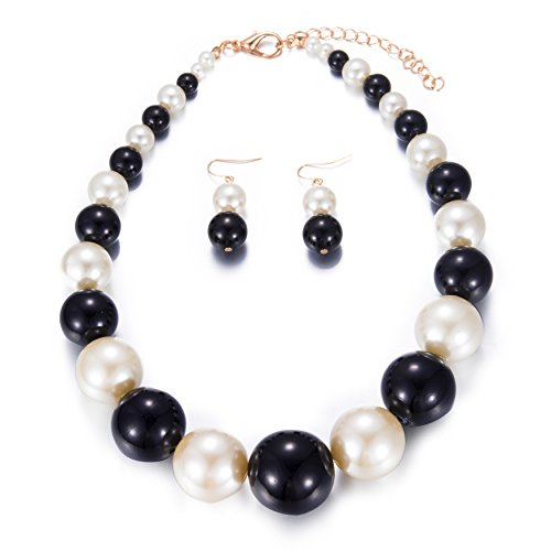 Womens Faux Big Pearl Choker Necklace and Earring Set Fashion Pearl Set (Black and White)