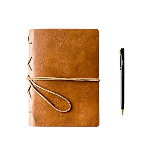 Troex Leather Journal - Eco-friendly Light Brown Bound Writing Notebook with Ballpoint Pen - Unlined Pages - Compact Travel Diary to Write in and Draw with Multifunctional String for Closure