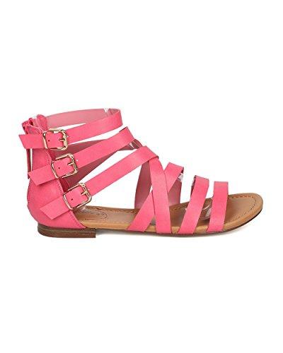Breckelles Kvinner Leather Gladiator Sandal - Casual, Sommer, Dressy -  Strappy Flat Sandal ...