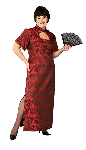 [Forum Novelties Women's Plus-Size Fortune Cookie Costume Dress, Red, X-Large] (Halloween Costumes For Asian Women)