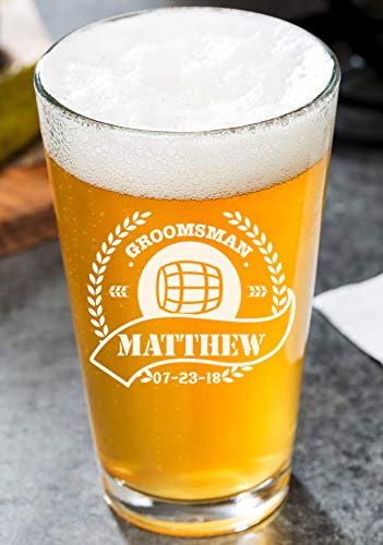 Height Pint Glass - Personalized Beer Glass - Custom Beer Mug, Pint Glass, Pilsner Glass | Add your own Engraved Text (Pint Glass)
