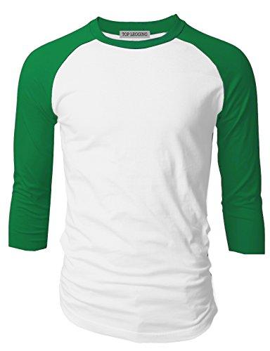 - TL Men's Baseball Crew Neck Cotton Long or 3/4 Sleeve Essentail Raglan Tee Shirts (XLARGE, 3/4_SL-GREEN_WH)