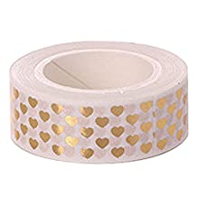 SODIAL(R) High quality Gold foil 10m paper tape dot,strip,heart Christmas decorative washi tape 1pcs£¨Q-30£©
