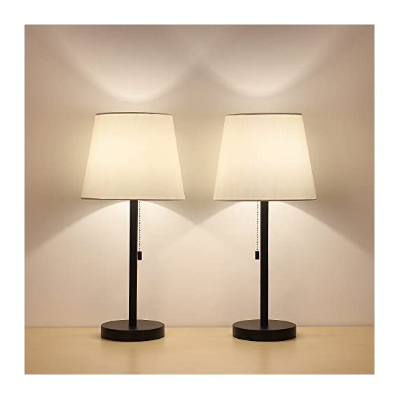 HAITRAL Bedside Table Lamps, Nightstand Lamps Set of 2, Modern Desk Lamps for Bedroom, Living room, Office - Black - PERFECT DESK LAMPS SIZE: 20.5 x 5.9 inches, generous table lamp great fits on any bedside table, office desk, dressing table. It needs E26 light bulb(bulb not include), max 60 Watt CONVENIENT NIGHTSTAND LAMPS: The modern lamp, with a pull chain switch on the lamp holder, you don't have to reach as far in bed to turn them on or off. Great bedside lamps for reading, working, study, enjoy high quality lighting CONTEMPORARY LAMPS FOR HOME DECOR: The unique elegant table light looks beautiful in modern or industrial decor. Black metal base and white line fabric, stylish design adds a touch of elegance to any room. Perfect for your home or office - lamps, bedroom-decor, bedroom - 41KxKhMV4xL. SS570  -