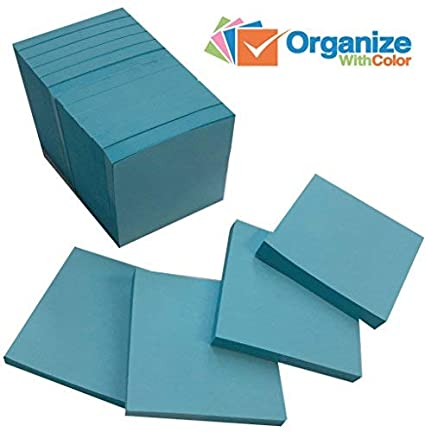 Sticky Notes 12 Pads Of 100 3 In. X 3 In. (Blue) Heavier Paper by Planet Safe Planners & Calendars