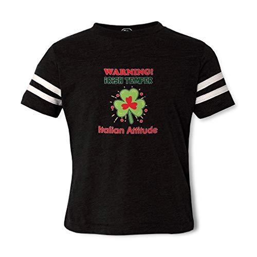 Warning Irish Temper - Italian Attitude Contrasting Stripes Crewneck Toddler Boys-Girls Cotton/Polyester Football T-Shirt - Black, 4T