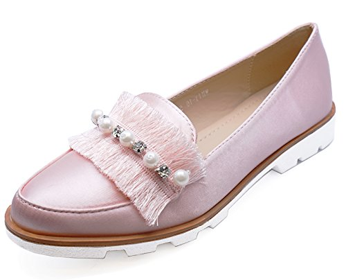 HeelzSoHigh Ladies Pink Slip-on Satin Loafers Smart Casual Flat Comfy Pumps Shoes Sizes 3-8