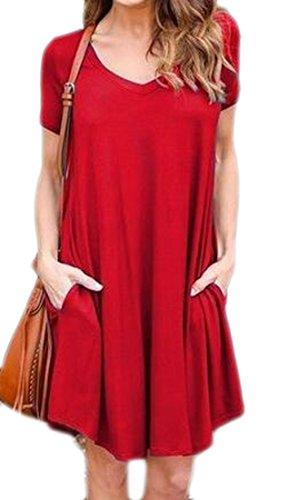 Cromoncent Femmes Court Lâche V-cou Manches Poches Plissées Balancer Rouge Robe
