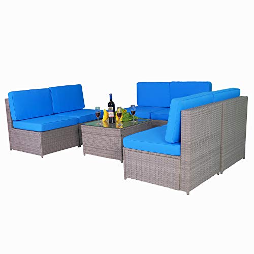 MCombo Outdoor Patio Gray Wicker Furniture Sectional Set All-Weather Resin Rattan Chair Conversation Sofas with Water Resistant Cushion Covers 6087 (Blue)