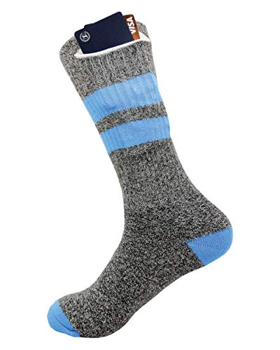 Socks with Pocket by Sockaroo | for Men and Women | Stash your Wallet, Keys, Marijuana, Huf, Pot, Hemp, Pen or Pipe | (Grey with Blue Stripes)