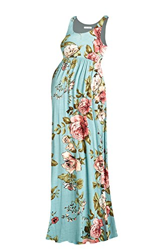 Beachcoco Women's Maternity Flower Printed Maxi Tank Dress (S, Multi 03 Mint)