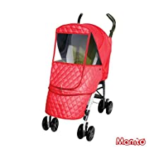 [Manito] Castle Alpha Cover / Cover for Baby Stroller and Pushchair, Rain Cover, Wind Weather Shield for outdoor strolling, Eye Protective Wide Windows (Red)