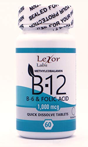 Lexor Labs Methylcobalamin B-12 B-6 and Folic Acid Quick Dissolve Tablets, 1000 Mcg, 60 Count