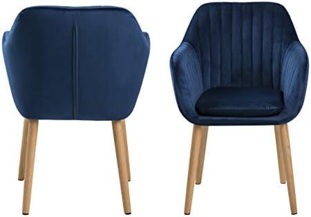 AC Design Furniture Wendy Silla de Comedor, Tela, Azul Oscuro, 61 x 57 x 83 cm
