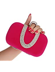 Pulama Womens Evening Clutch Rhinestone One Ring Knuckle Duster Hard Case Cocktail Party Purse Handbag