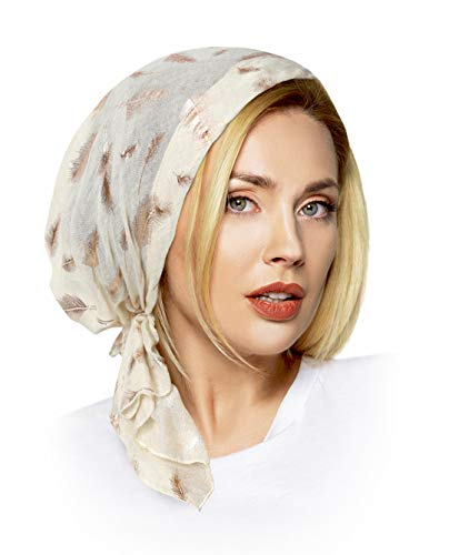 Gold Snood - ShariRose Soft Lightweight pre-Tied Head-Scarf Tichel Weightless Collection! (Cream Rose Gold Feathers Short)