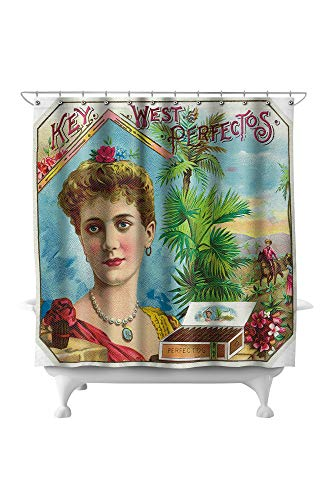 Lantern Press Key West Perfectos Brand Cigar Outer Box Label 27948 (74x74 Polyester Shower Curtain)