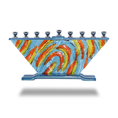 Ner Mitzvah Glass Candle Menorah - Fits All Standard Chanukah Candles - Handcrafted Wids of Inspiration Glass Painted Hanukkah Menorah