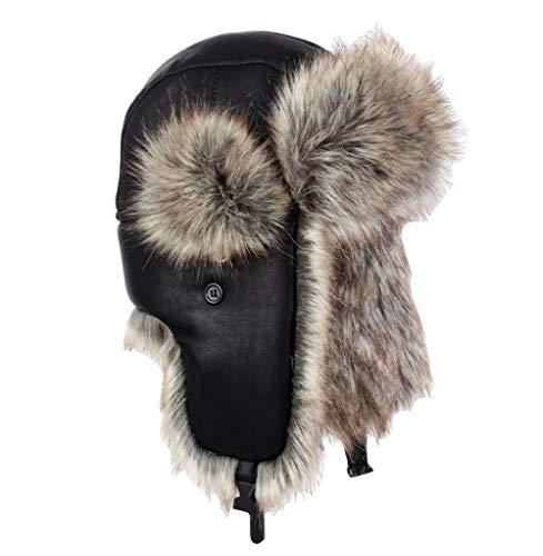 2853ba5c784 GAZHFERY Mens Winter Warm Russian Al Aire Libre Durable Fake Fur Trapper  Ski Hat