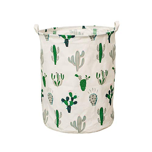 Fivebop Collapsible Laundry Basket Hamper with Handle Waterproof Linen Collapsible Dirty Clothes Toy Storage Basket (Cactus)
