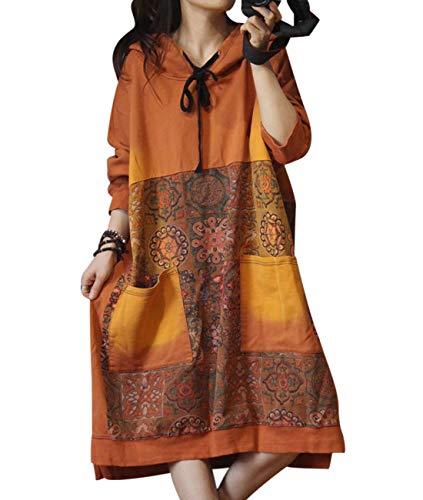 YESNO JCJ Women Casual Loose Ethnic Floral Hoodies Sweatshirts Jackets Long Sleeve/Pockets (One Size, Typ4 Orange)
