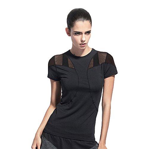 Nice Fashion Activewear Mesh Net Yarn Splicing T-shirts Workout Yoga Tops Sport Tees Training Wear for Women supplier