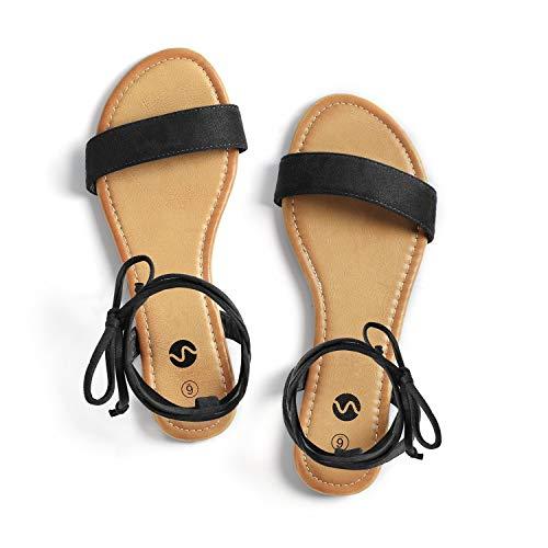 Rekayla Open Toe Tie Up Ankle Wrap Flat Sandals for Women Black 095