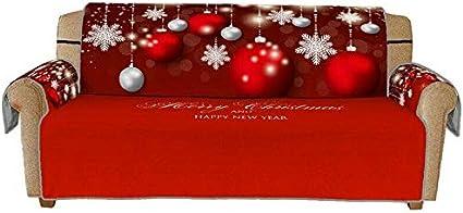 per proteggere il divano e proteggere il divano set di copridivano con motivo natalizio 1 seat con motivo geometrico e neve accessori per la decorazione della casa Ausuky