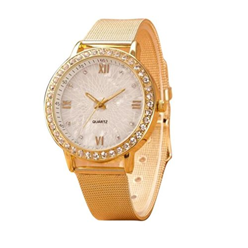 Winhurn Classic Crystal Gold Band Women Wrist Watch with Roman Numerals