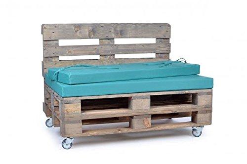 Palettenkissen, Gartenmöbel Auflagen, Sitzbankauflage, Matratzenauflagen auch m. Rückenlehne bzw. Dekokissen in Nylon, türkis, wasserabweisend und strapazierfähig